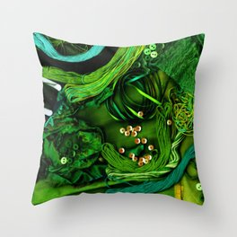 Sewing Notions - Green & Turquoise Throw Pillow
