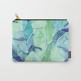 Banana Tree Leaves | Tropical  BLUE Watercolor Carry-All Pouch