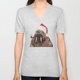 Christmas Daddy Walrus Unisex V-Neck