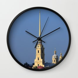The spire of the Peter and Paul Cathedral and the embankment of the Peter and Paul Fortress Wall Clock