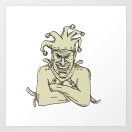 Crazy Court Jester Straitjacket Drawing Art Print