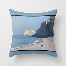 Beach at Etretat, France Throw Pillow