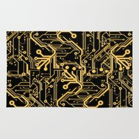 techno Area & Throw Rugs featuring Techno Organic  by Leigh Wortley