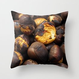 Food. Roasted chestnuts. Throw Pillow