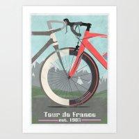 tour de france Art Prints featuring Tour De France Bicycle by Wyatt Design