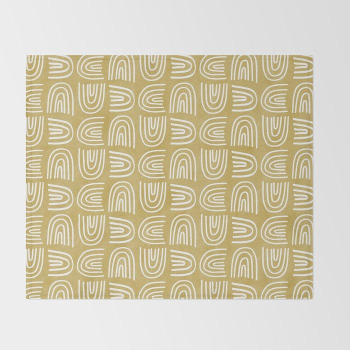 Handdrawn Rainbows in Mustard Yellow Throw Blanket