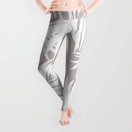 Palm Tree Fronds White on Soft Grey Hawaii Tropical Décor Leggings