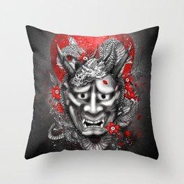 Hannya dragon mask Throw Pillow