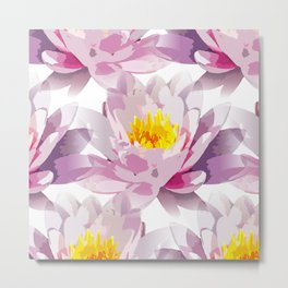 Modern abstract pink yellow waterlilly floral Metal Print