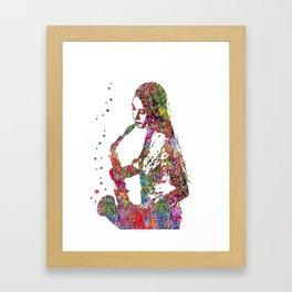 Jazz musician, watercolor jazz musician, saxophone player, Framed Art Print