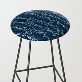 poppy vines on navy Bar Stool