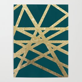 Modern turquoise green gold glitter foil ombre geometric stripes color block Poster
