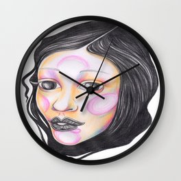 Blue and Purple with Wrapped Hair  Wall Clock