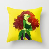poison ivy Throw Pillows featuring poison ivy by squeegool