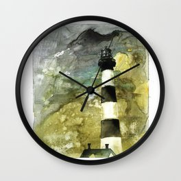 Fine art watercolor painting of Bodie Island lighthouse at sunset in the Outer Banks (OBX) of North Wall Clock