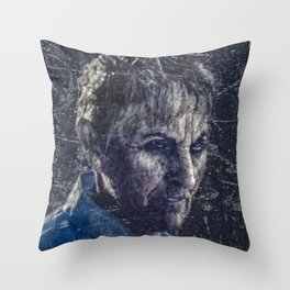 Senior Zombie Portrait - Photo Manipulation Art Throw Pillow