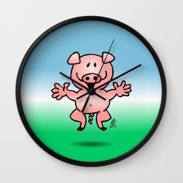 Cheerful little pig Wall Clock