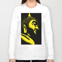 buddah Long Sleeve T-shirts featuring Buddah Head 01; Gold  by Kether Carolus