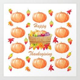 Watercolour Pumpkin Turkey Pattern Happy Thanksgiving Art Print