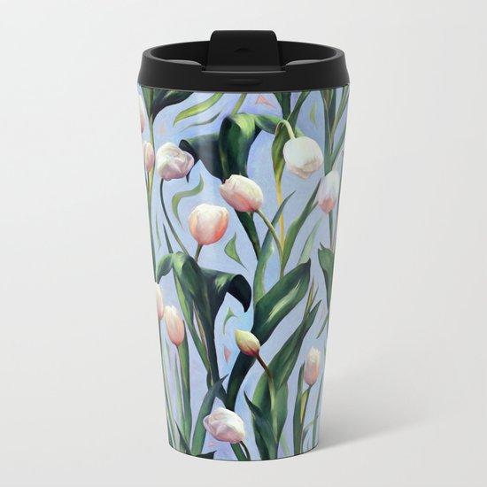 Waiting on the Blooming - a Tulip Pattern Metal Travel Mug