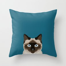 Ezra - Siamese Cat, Cute Kitten Retro Cat Art cell phone case, siamese, cute cat Throw Pillow