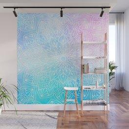 Watercolor White Mandala Illustration Pattern Wall Mural