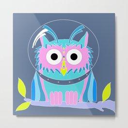 Pink Owlstronaut Metal Print