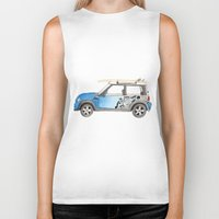 mini cooper Biker Tanks featuring Magnificent Mini Cooper by Fuzzy Art