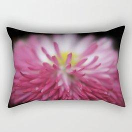 pink bellis on black Rectangular Pillow