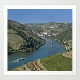 Pinhao village on the Douro, Portugal Art Print