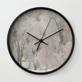 Silvery Ice Trees Wall Clock