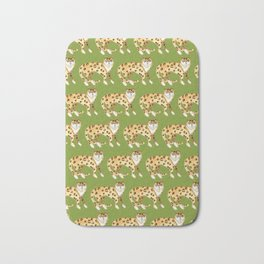 Laughing Leopard Pattern Avocado Bath Mat