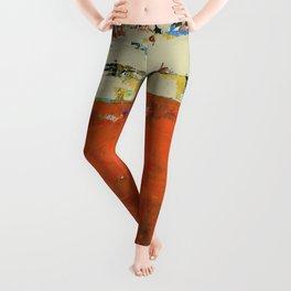 Roadrunner Bright Orange Abstract Colorful Art Painting Leggings