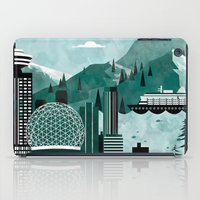 travel poster iPad Cases featuring Vancouver Travel Poster Illustration by ClaireIllustrations