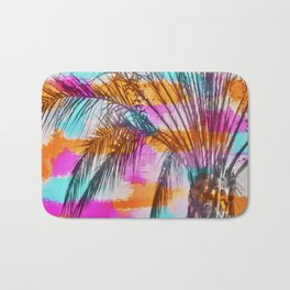 palm tree with colorful painting abstract background in pink orange blue Bath Mat