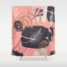 Abstract Leaves and Flowers Shower Curtain