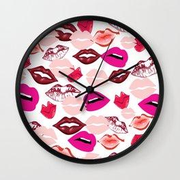 Lips, Kiss Me, Digital Art Wall Clock