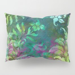 Jungle Floral Design in Jeweled Blues and Purple Pillow Sham