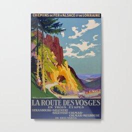 La Route des Vosges Vintage Travel Poster Metal Print
