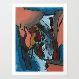 Over the Bluff Abstract Landscape Painting Art Print