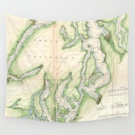 Vintage Map of The Puget Sound (1867) Wall Tapestry