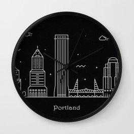 Portland Minimal Nightscape / Skyline Drawing Wall Clock