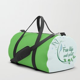 Hummingbird Free Life Quote Duffle Bag