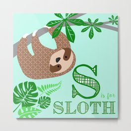 S is for Sloth Metal Print