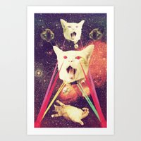 saga Art Prints featuring galactic Cats Saga 4 by Carolina Nino