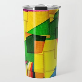 Abstract collage of backgrounds of corrugated colored cardboard Travel Mug