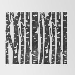 Woodcut Birches Black Throw Blanket