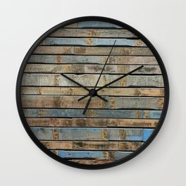 distressed wood wall - Blue and brown planks Wall Clock