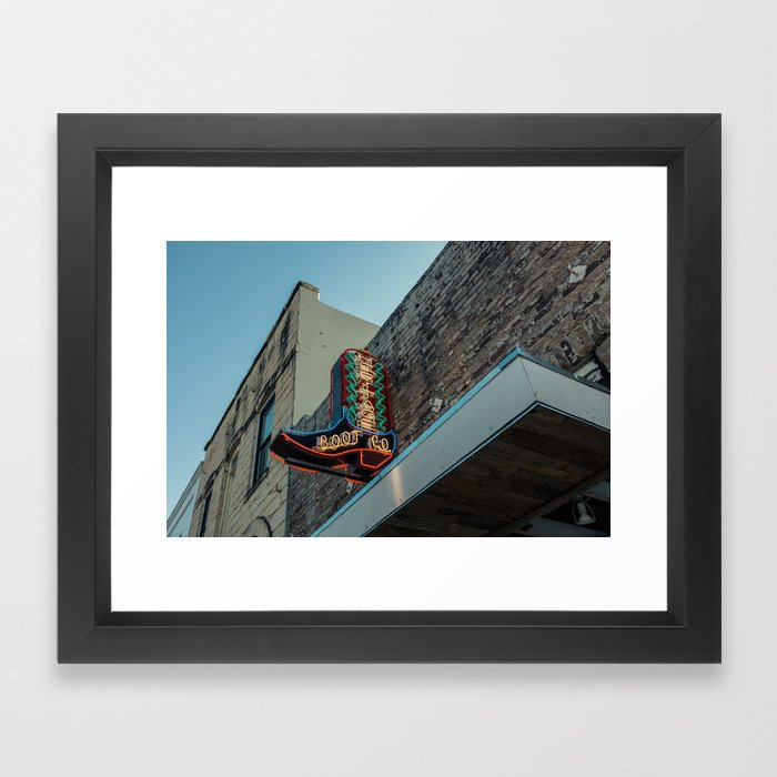Boot Shop Neon Sign Framed Art Print