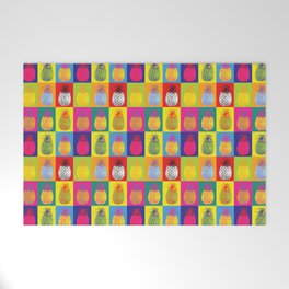 Modern Pop Art Pineapple Fruit on Colourful Squares Welcome Mat